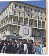 Tourists At Alcatraz Island Wood Print