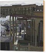 Tourists At The Front Section Of Houseboats Lined Up Along Dal Lake Wood Print