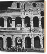 Tourists Exit The Rear Entrance To The Colosseum Rome Lazio Italy Wood Print by Joe Fox