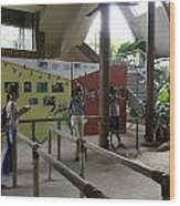 Tourists In A Queue At One Of The Exhibits Inside The Jurong Bird Park Wood Print