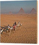 Tourists On Camels & Pyramids Of Giza Wood Print