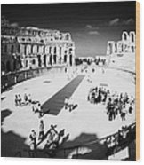 Tourists On The Arena Floor Of The Old Roman Colloseum At El Jem Tunisia Vertical Wood Print