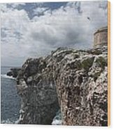 Stunning Tower Over The Cliffs Of Alcafar In Minorca Island - Tower And Sea Wood Print