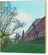 Tower And Wall From Park Outside Kremlin In Moscow-russia Wood Print