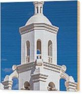 Tower At Mission San Xavier Del Bac Wood Print
