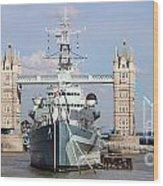 Tower Bridge And Battleship 5863 Wood Print