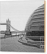 Tower Bridge And London City Hall - Uk Wood Print