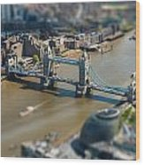 Tower Bridge And London City Hall Aerial View Wood Print