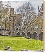 Tower Bridge And London Tower Wood Print
