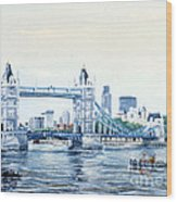 Tower Bridge And The City Of London Wood Print