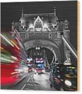 Tower Bridge And Traffic Color Mix Wood Print