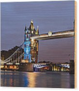 Tower Bridge Illuminated For Je Suis Charlie Wood Print by Ivelin Donchev