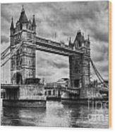 Tower Bridge In London Uk Black And White Wood Print