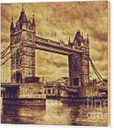 Tower Bridge In London Uk Vintage Style Wood Print