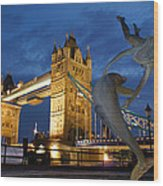 Tower Bridge The Dolphin And The Girl Wood Print