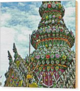 Tower Closeup Of Buddhist Temple At Grand Palace Of Thailand  Wood Print