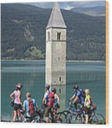 Tower In The Lake Wood Print