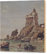 Tower Of Erchia, Gulf Of Salerno, 1849 Oil On Canvas Wood Print