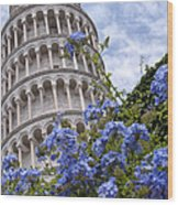 Tower Of Pisa With Blue Flowers Wood Print