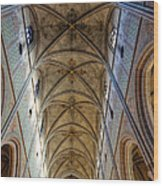 Towering Art - The Painted Ceiling Above The Nave Of Uppsala Cathedral - Sweden Wood Print
