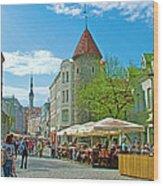 Towers As Gateways To Old Town Tallinn-estonia Wood Print