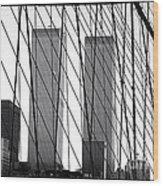 Towers From The Brooklyn Bridge 1990s Wood Print by John Rizzuto