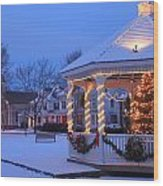 Town Common Holiday Scene Brookfield Massachusetts Wood Print