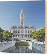 Town Hall In Porto Portugal Wood Print