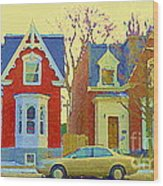 Town Houses In Winter Suburban Side Street South West Montreal City Scene Pointe St Charles Cspandau Wood Print