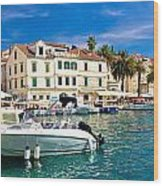 Town Of Hvar Waterfront View Wood Print