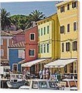 Town Of Veli Losinj Colorful Waterfront Wood Print