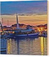 Town Of Vodice Harbor And Monument Wood Print