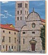 Town Of Zadar Historic Church Wood Print