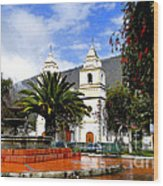 Town Square In Penipe Ecudor Wood Print by Al Bourassa