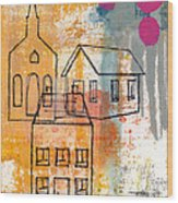 Town Square Wood Print