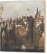 Town With A Broken Bridge Wood Print by Victor Hugo