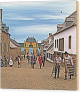Townsfolk On Street To The Sea In Louisbourg Living History Museum-174 Wood Print
