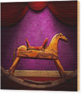 Toy - Hobby Horse Wood Print by Mike Savad