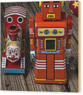Toy Robot And Train Wood Print