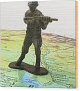 Toy Solider On Iraq Map Wood Print by Amy Cicconi