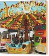Toy Town Carousel  Wood Print