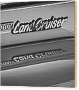 Toyota Land Cruiser Emblem -0581bw Wood Print