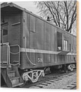 Tpw Rr Caboose Black And White Wood Print