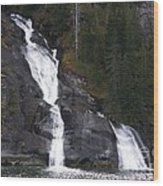 Tracey Arm Fjord Waterfall Wood Print