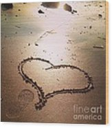 Tracks Of Love In The Sand Wood Print