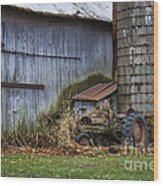 Tractor And Barn On Cloudy Day Wood Print