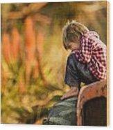 Tractor Boy Wood Print