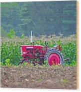 Tractor In A Corn Field Wood Print