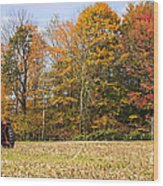 Tractor In Autumn New England Field Wood Print