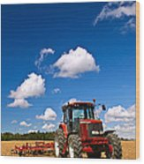 Tractor In Plowed Field Wood Print by Elena Elisseeva